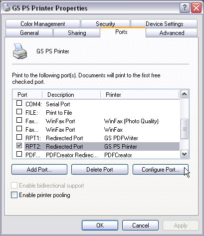 Select Properties Of The Newly Created GS PS Printer